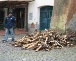 firewood delivered to a pizzeria, Tuscania Italy